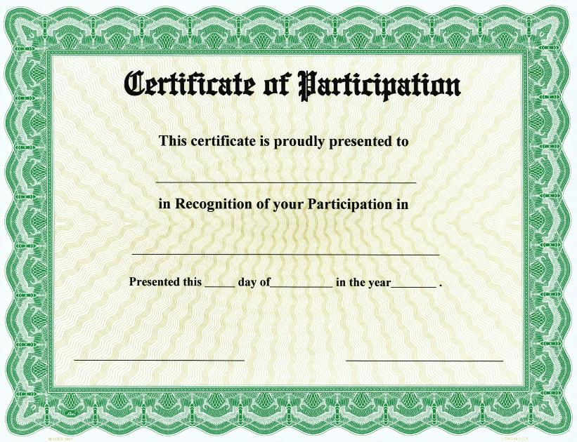 Certificate Of Participation On Goes® Bison Series Border