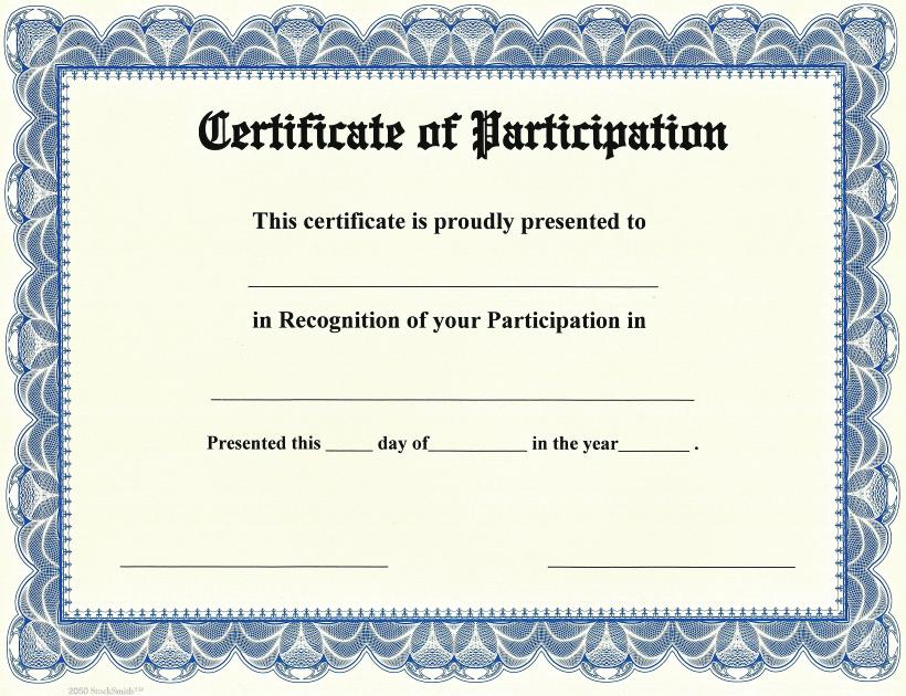 Participation Awards  Certificate Of Participation Free Template