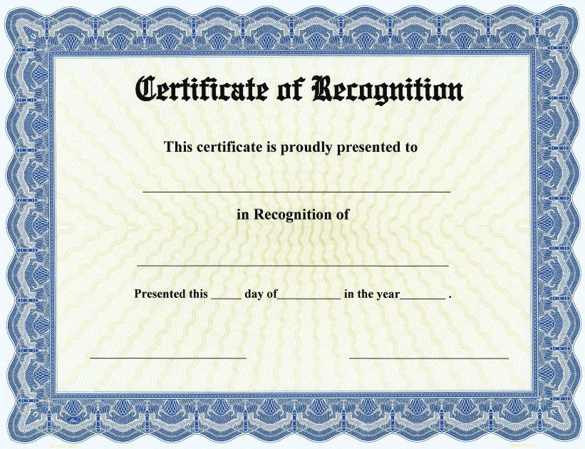 Recognition Certificate Template Free