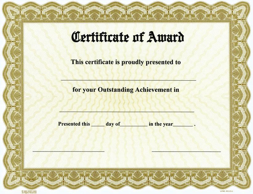 Certificate of award on goesr bison series border qty 25 for Award certificate border