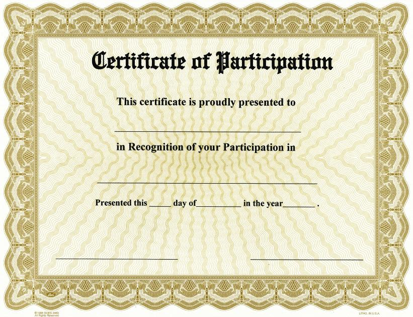 certification of participation