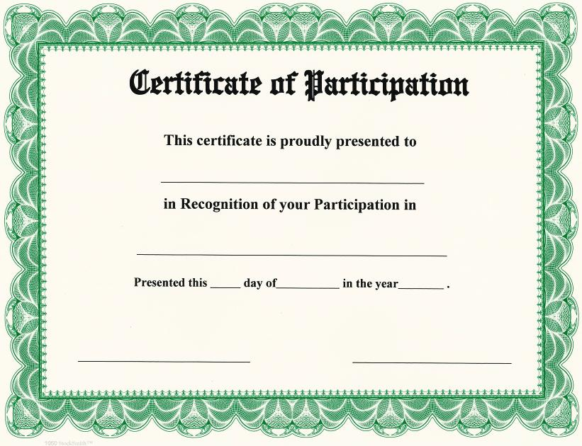 Certificate Of Participation On StockSmith Border / Qty. 20