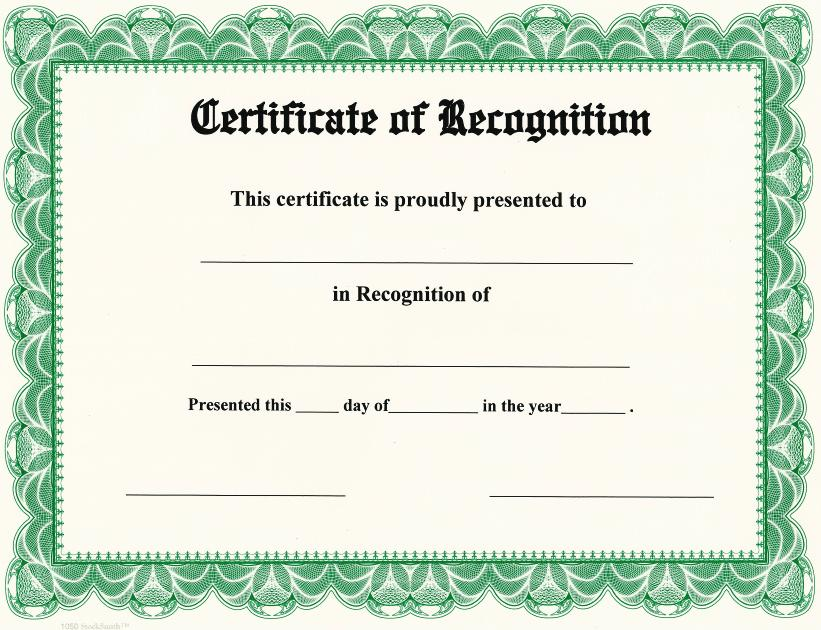 Certificate of Recognition on StockSmith Border / Qty. 20