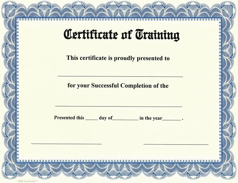 certificate of training on stocksmith border qty 20