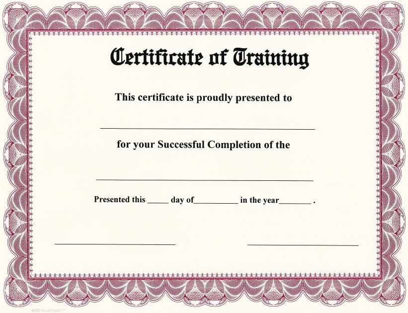 Image result for certificate of training