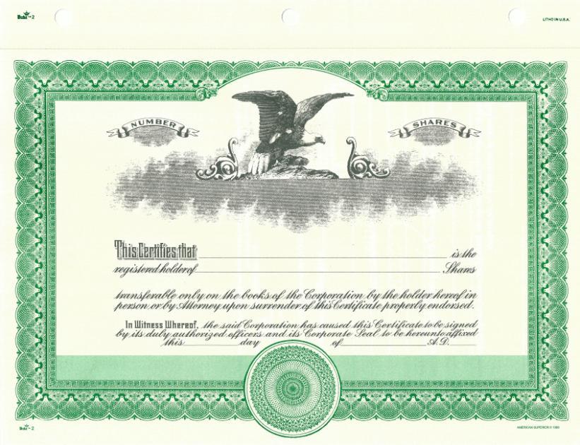 Duke 2 Green Stock Certificate For Profit Corporation