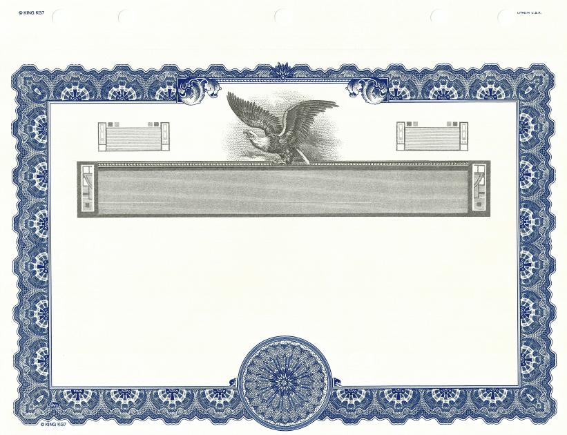 Goes® KG-7 (Blue) Stock Certificate - Blank