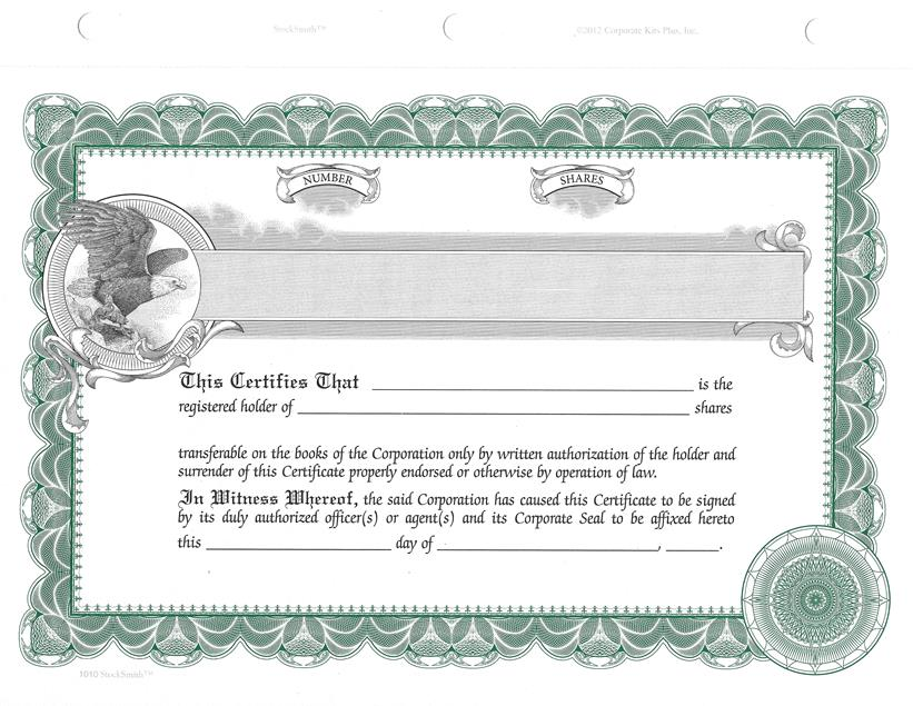Blank StockSmith Stock Certificates