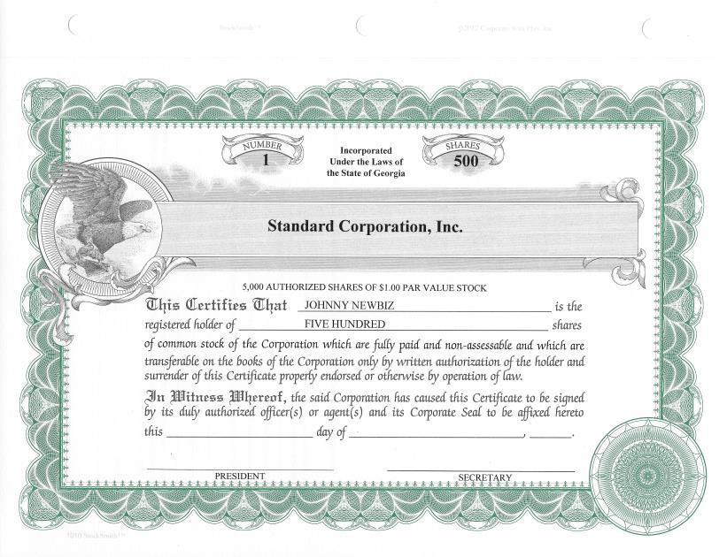 20 Custom StockSmith Certificates for Profit Corporation