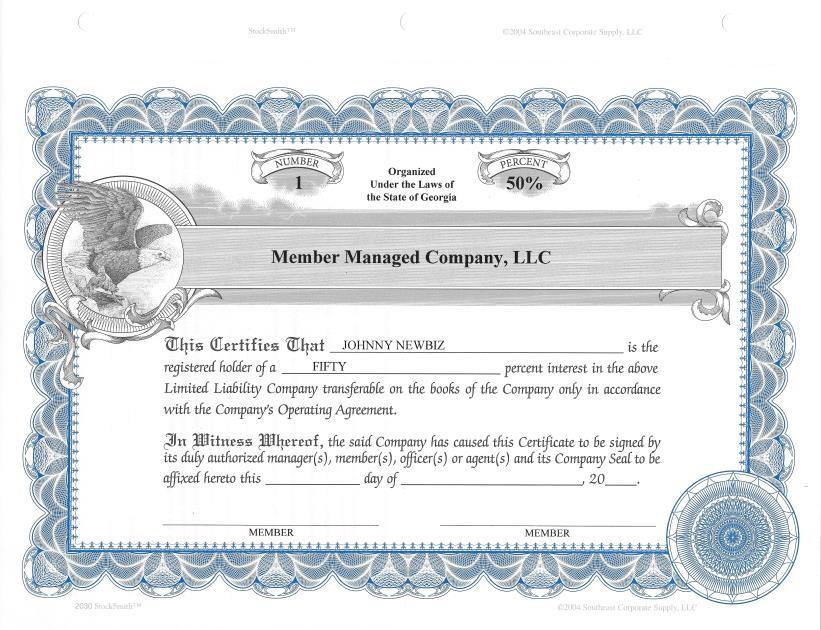 20 Custom Stocksmith Certificates With Percent For Llc