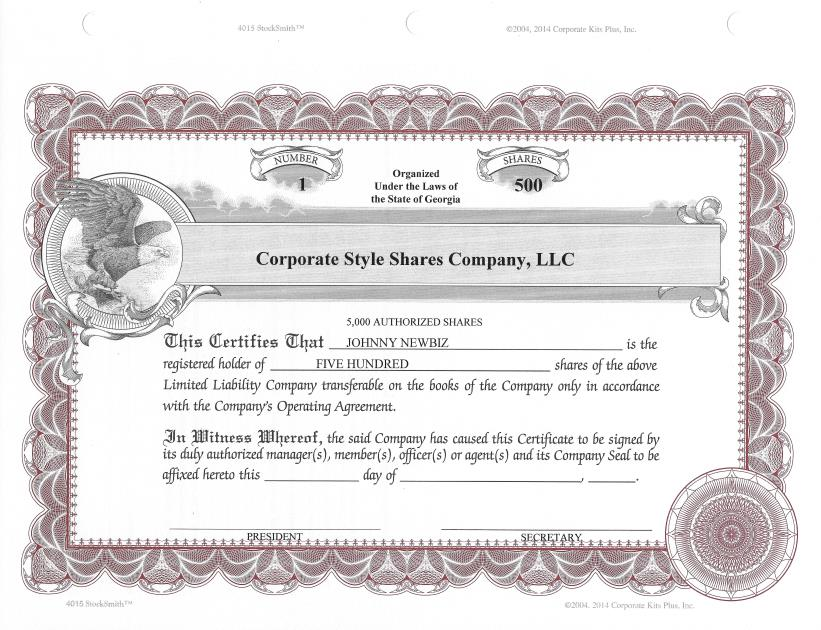 20 Custom StockSmith Certificates with Shares for LLC