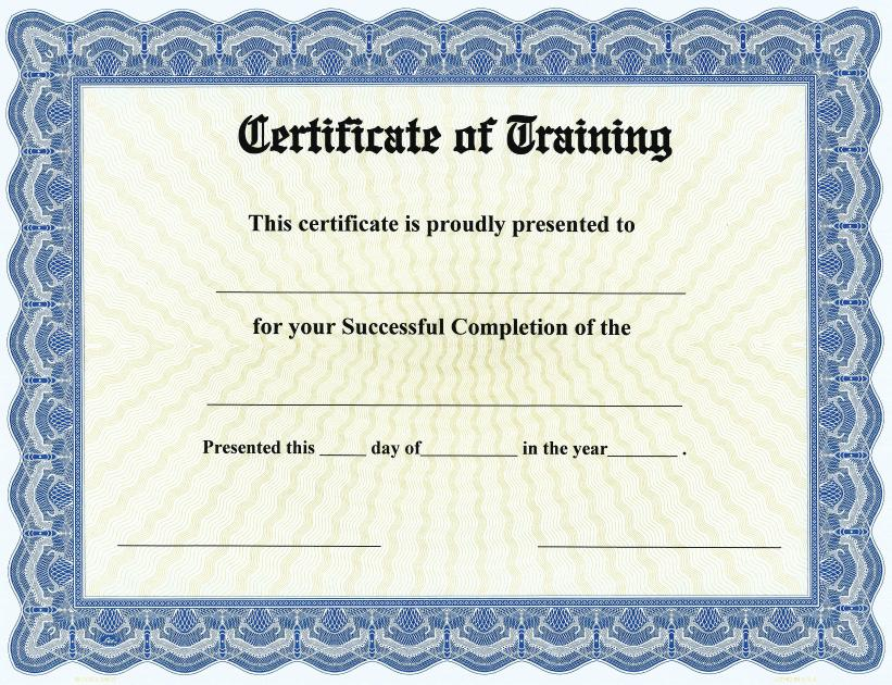 Certificate Of Training On Goes Bison Series Border  Qty