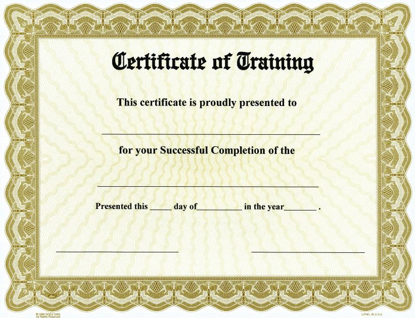 Certificate Of Training On Goes® Bison Series Border / Qty. 25